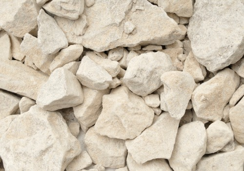 Limestone getting ready to be picked up as a part of a Rock and Lime Delivery